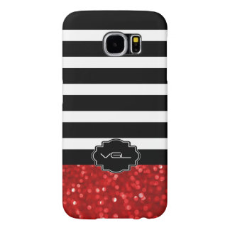 Ruby Red Bokeh Glitter With Black & White Stripes Samsung Galaxy S6 Case