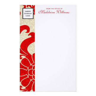 Ruby Red Border with Business Logo Custom Stationery