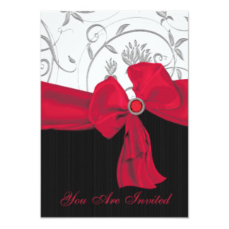 Ruby Red Bow Wedding Rehearsal Dinner Invitation