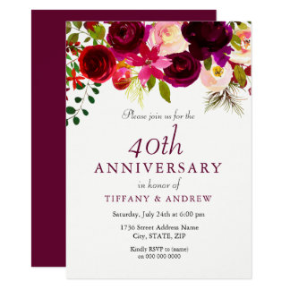 Ruby Red Burgundy Floral 40th Wedding Anniversary Card