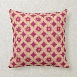 Ruby Red Cream Circles Throw Pillow