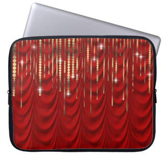 Ruby Red Drape Gold Luxury Sparkle Laptop Sleeves