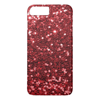 Ruby Red Faux Glitter Sparkle Print iPhone 7 Plus Case