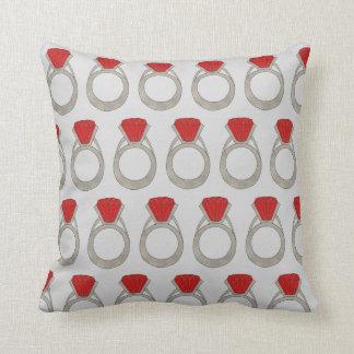 Ruby Red Gemstone Gem Ring Jewel Bling Rubies Throw Pillow