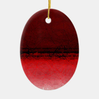 Ruby Red Geometrical Ombre Pattern Ceramic Ornament