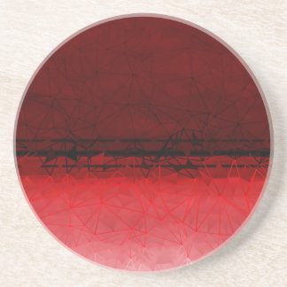 Ruby Red Geometrical Ombre Pattern Coaster