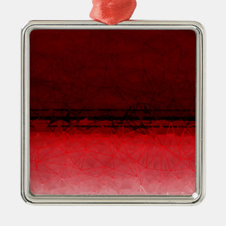 Ruby Red Geometrical Ombre Pattern Metal Ornament