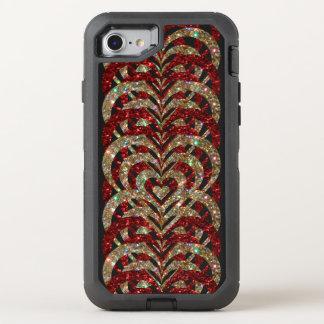 Ruby Red & Gold Glitter Spiral Vortex Hearts - OtterBox Defender iPhone 8/7 Case