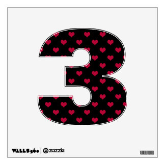 Ruby Red Hearts Number Three 3 Wall Sticker