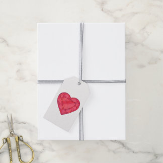 Ruby red jewelry heart watercolor art gift tags pack of gift tags