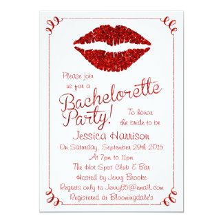 "Ruby Red Lips Glitter Effect Bachelorette Party 5"" X 7"" Invitation Card"