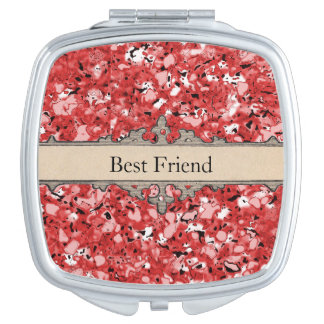 Ruby-Red-Marbleized-Best-Friend-Monogram-Compact's Travel Mirrors