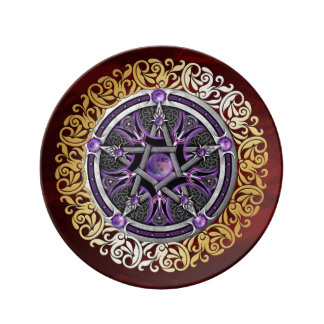 Ruby Red Medieval Witchcraft Ritual Alter Offering Plate