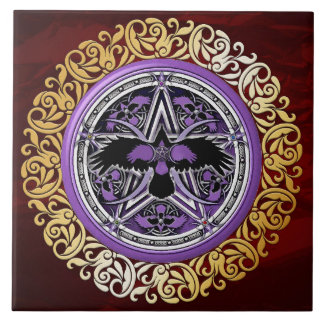 Ruby Red Medieval Witchcraft Ritual Alter Offering Tile