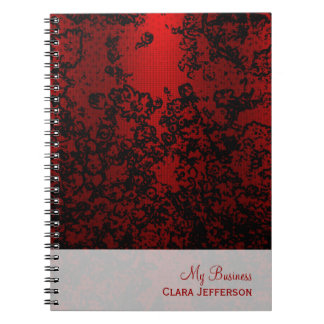 Ruby red on black floral vibrant elegant notebooks