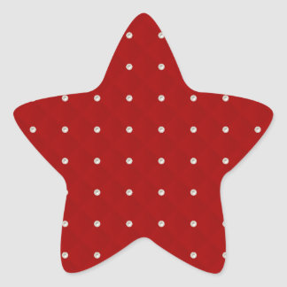 Ruby Red Pearl Stud Quilted Star Stickers