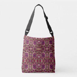 Ruby Red Pink Gold Gemstone Pattern Elegant Chic Crossbody Bag