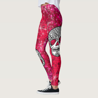 Ruby Red Rhinestone Glitter Sequin Sugar Skulls Leggings
