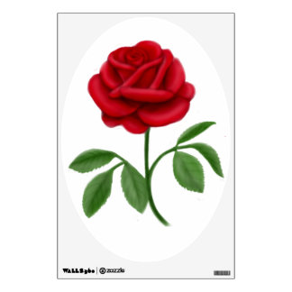 Ruby Red Rose Customizable Wall Decal