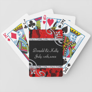 Ruby Red Roses & Diamond Swirls Wedding Bicycle Playing Cards