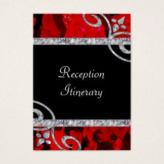 Ruby Red Roses & Diamond Swirls Wedding Business Card