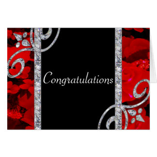 Ruby Red Roses & Diamond Swirls Wedding Card