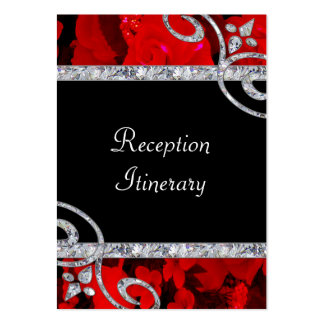 Ruby Red Roses & Diamond Swirls Wedding Large Business Card