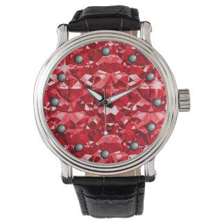 Ruby Red Sparkle Diamonds Watch