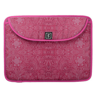 Ruby Red Suede Leather Look-Floral Pattern MacBook Pro Sleeve