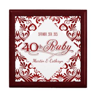 Ruby Red Swirls 40th Wedding Annivesary Custom Gift Box