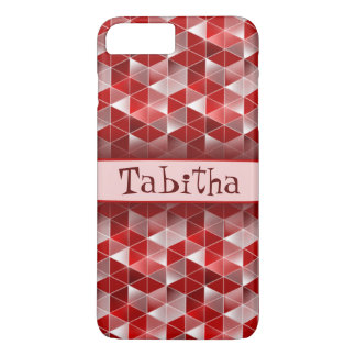 Ruby Red Triangles Pattern Customisable iPhone 7 Plus Case