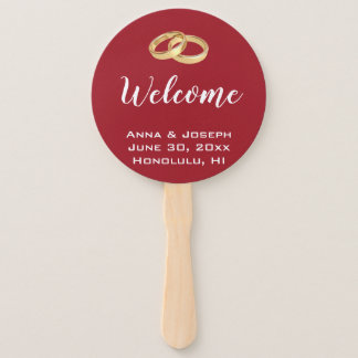 Ruby Red Wedding Fan with Gold Wedding Rings