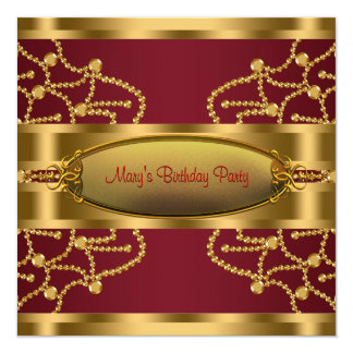 Ruby Red Wine and Burgundy Gold Birthday Party Card