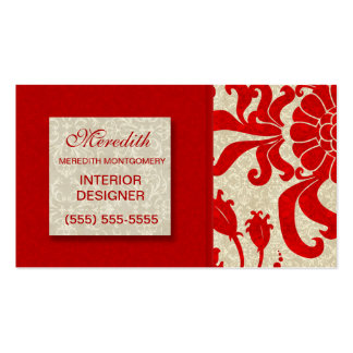Ruby Red with Taupe Damask Print Pack Of Standard Business Cards