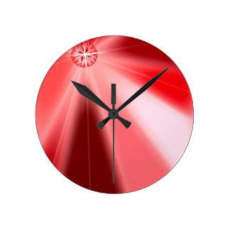 Ruby Starburst Round Clock