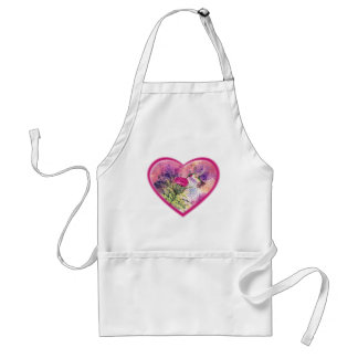 Ruby Throat Hummingbird Heart for Valentine's Day Standard Apron
