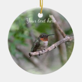 Ruby-throated hummingbird ceramic ornament