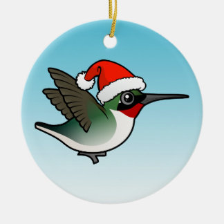 Ruby-throated Hummingbird Christmas Ceramic Ornament