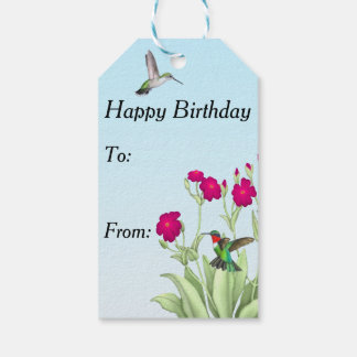 Ruby Throated Hummingbird Couple Gift Tags
