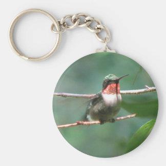 Ruby-throated Hummingbird Flutters Keychain