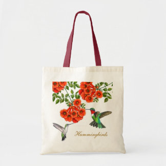 Ruby Throated Hummingbirds in Trumpet Creeper Vine Tote Bag
