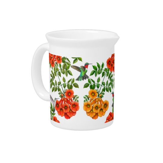 Ruby Throated Hummingbirds on Trumpet Vines Pitcher
