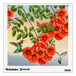 Ruby Throated Hummingbirds Wall Decal