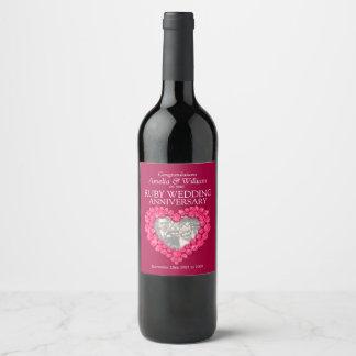 Ruby wedding anniversary custom wine labels