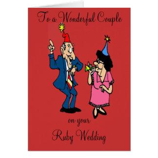 RUBY WEDDING ANNIVERSARY GREETING CARD