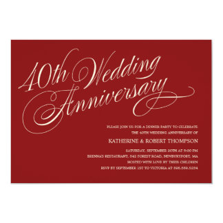 Ruby Wedding Anniversary Invitations