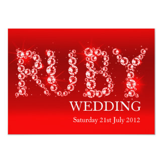 Ruby wedding sparkle in stones party invite 40th