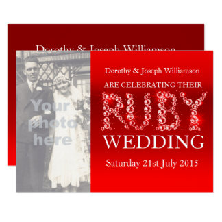 Ruby wedding sparkle stones photo party invite 40
