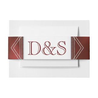 Ruby Wedding | Wine Red  Geometric Watercolor | Invitation Belly Band