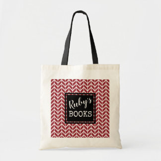 Ruby's Books.Red Black & White. Your Name Tote Bag